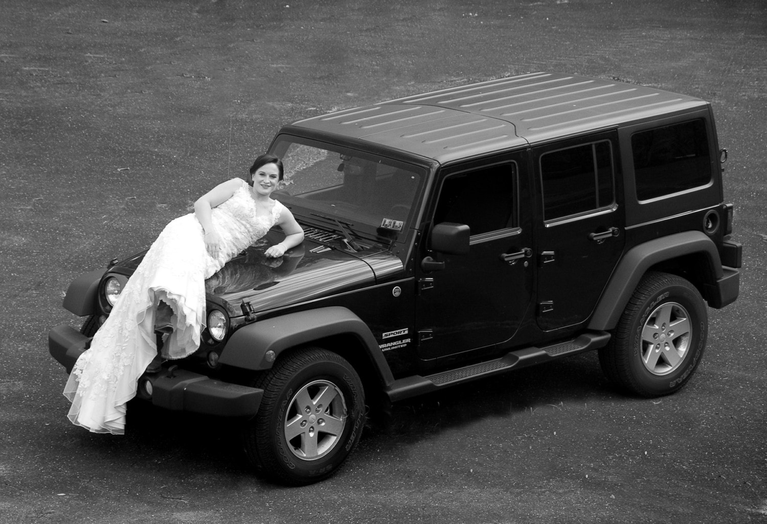 bride on top of a jeep