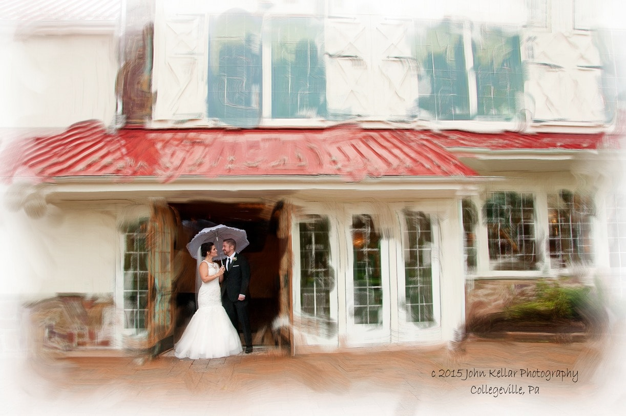 wedding portrait with house