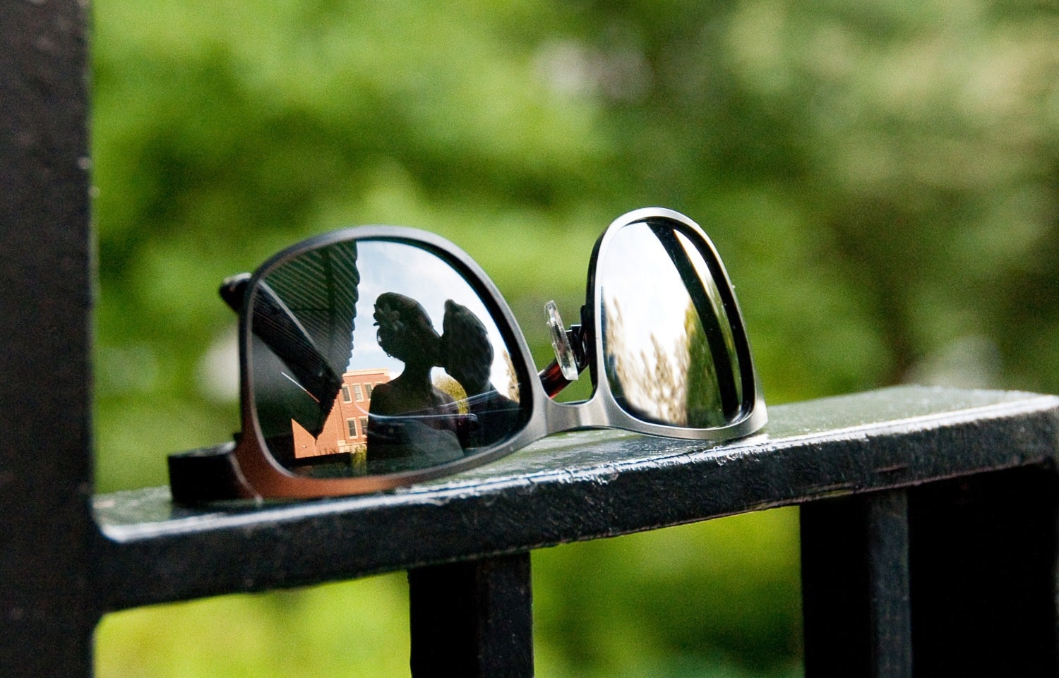 sun glass portrait with wedding reflection