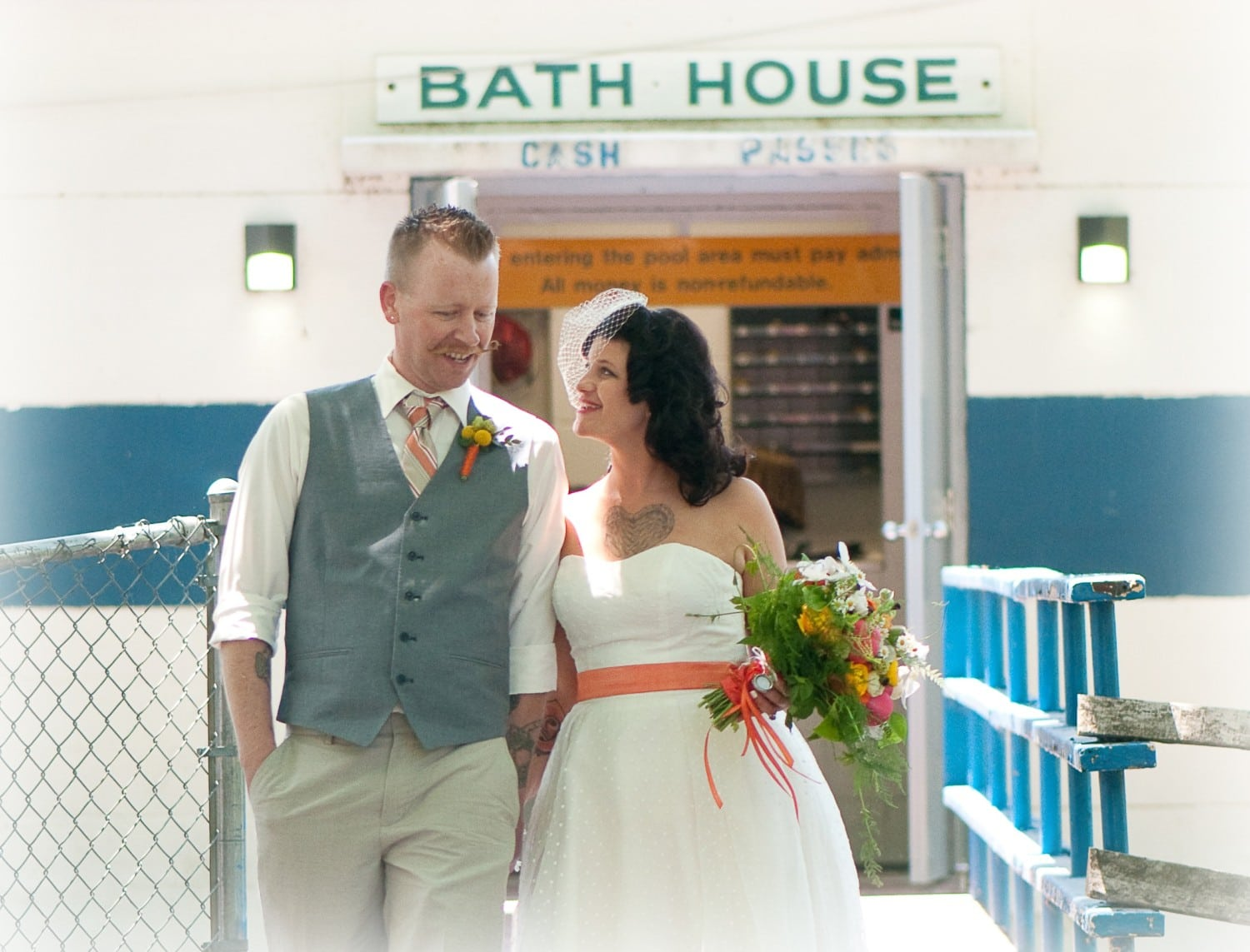 couple at bath house wedding photography
