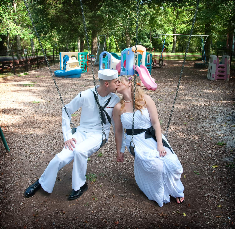 wedding photography on playground set