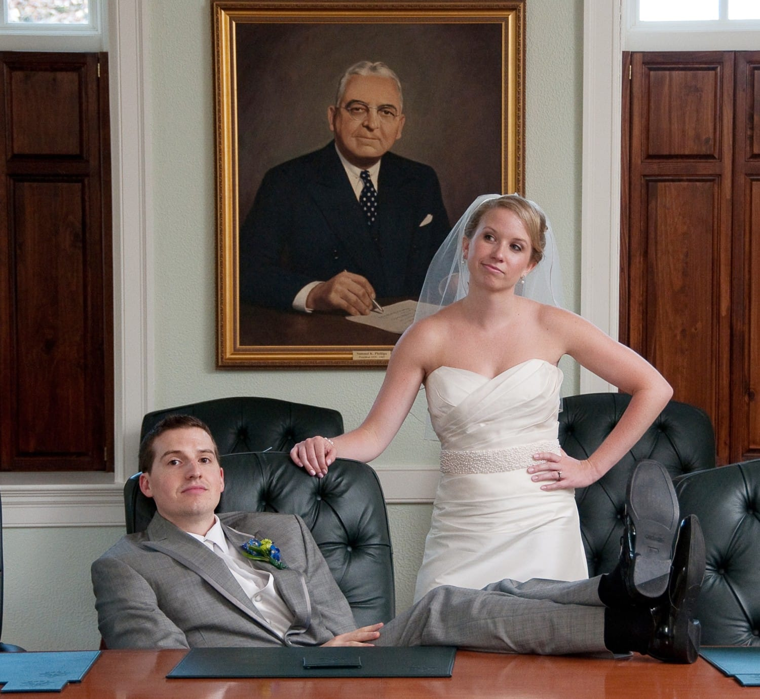 wedding photography in an office