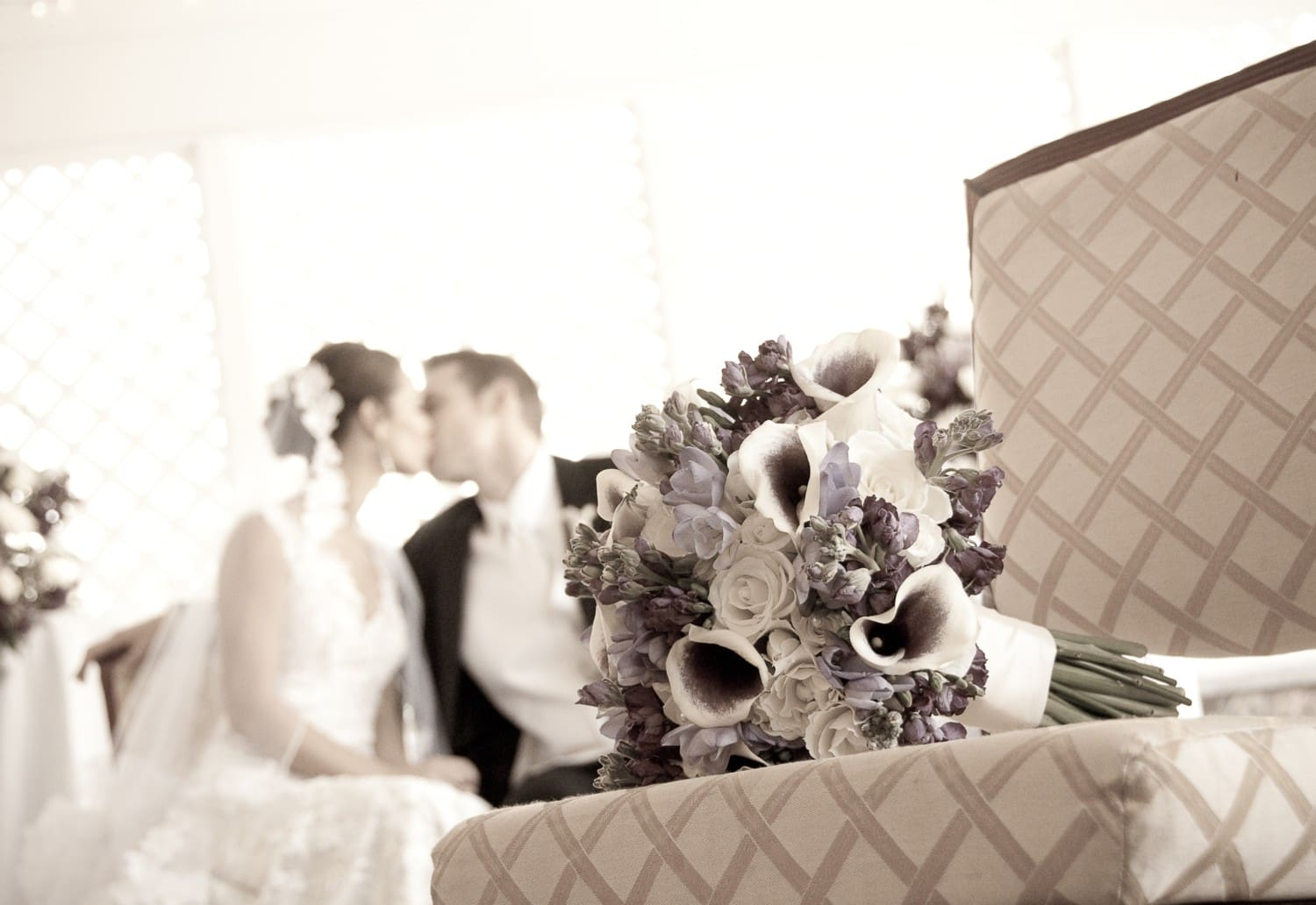 sepia wedding kiss photography