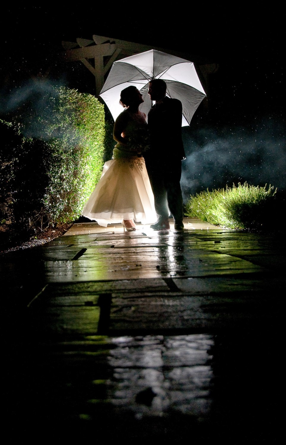 man and wife silhouettes with umbrella