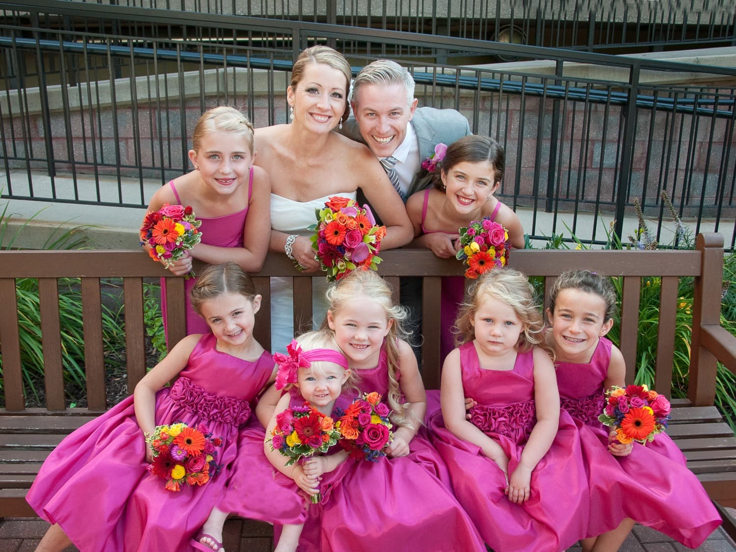 wedding photography family in pink dresses