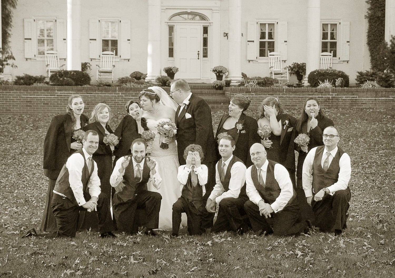 sepia large group wedding photography