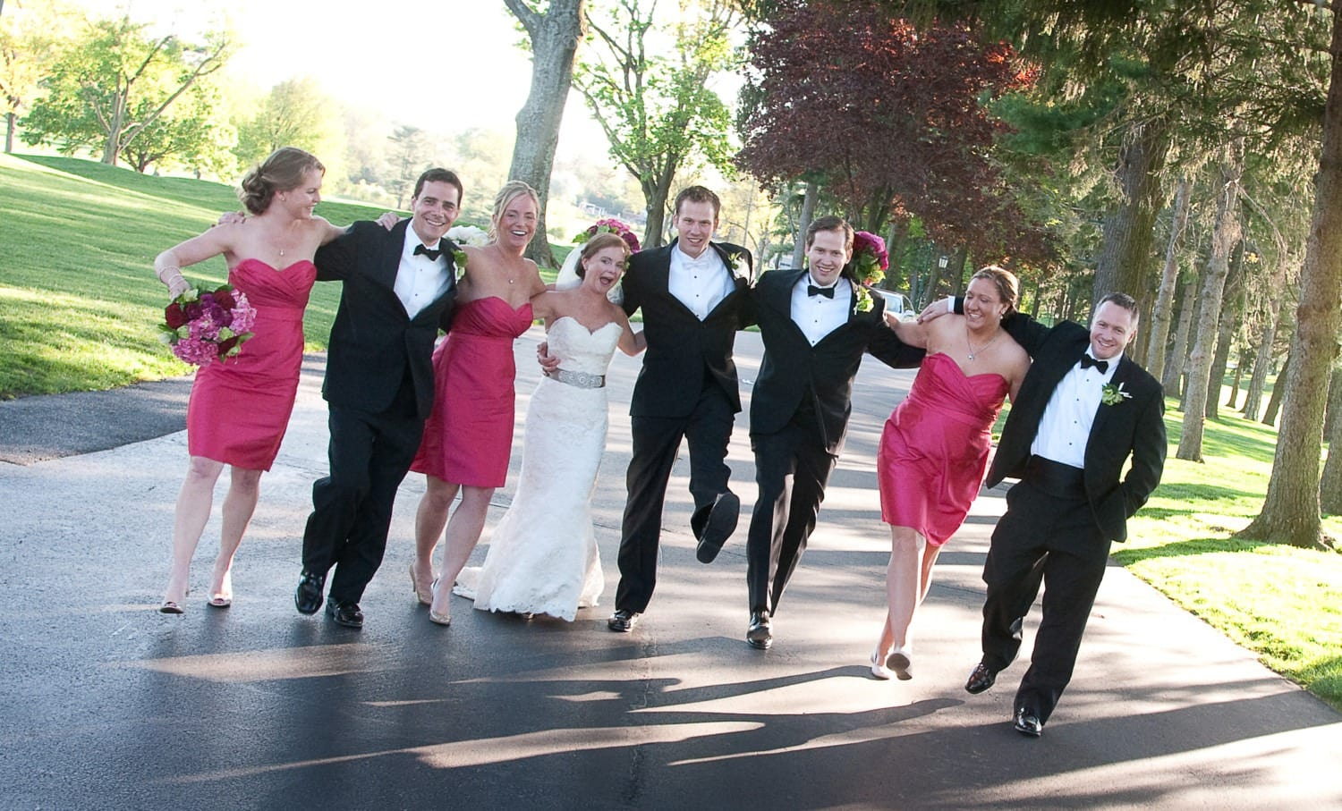 medium group wedding photography laughing