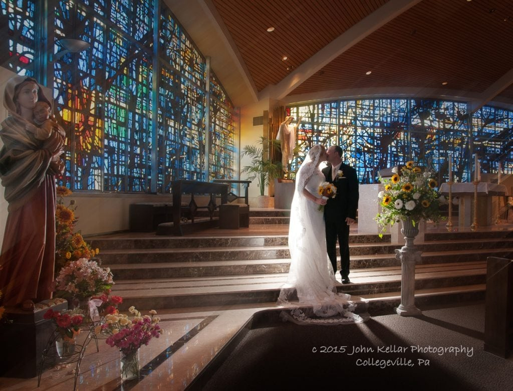 wedding chapel with stain glass