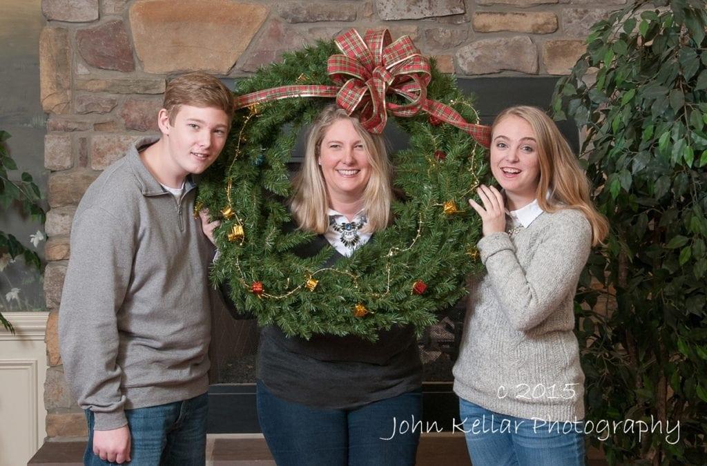 seasonal small group family portrait with prop