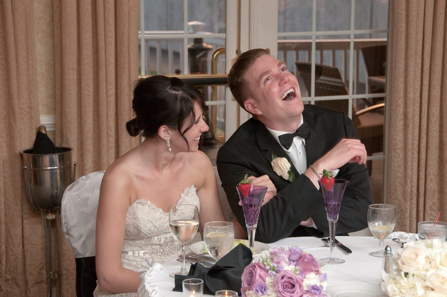 wedding party laughs