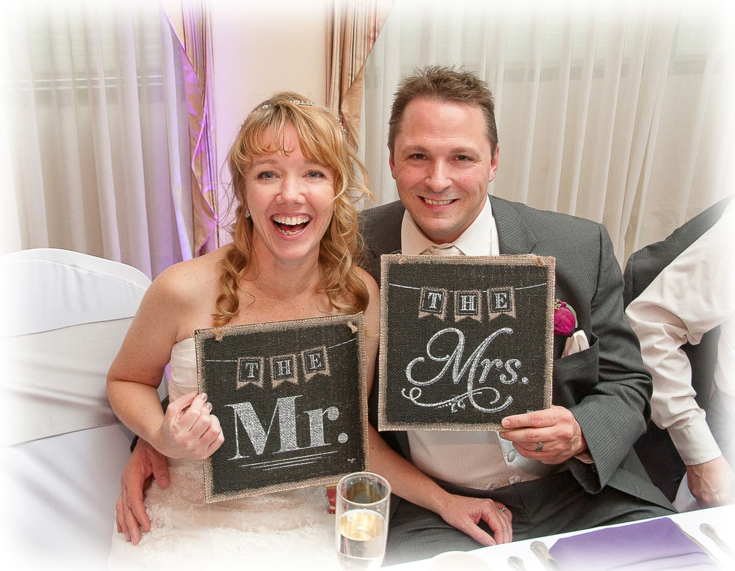 Mr. and Mrs. Signs at wedding party