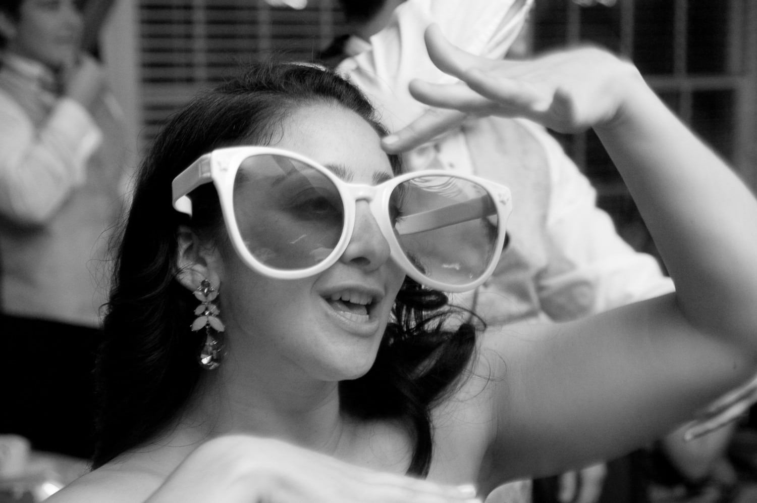 large sunglasses wedding