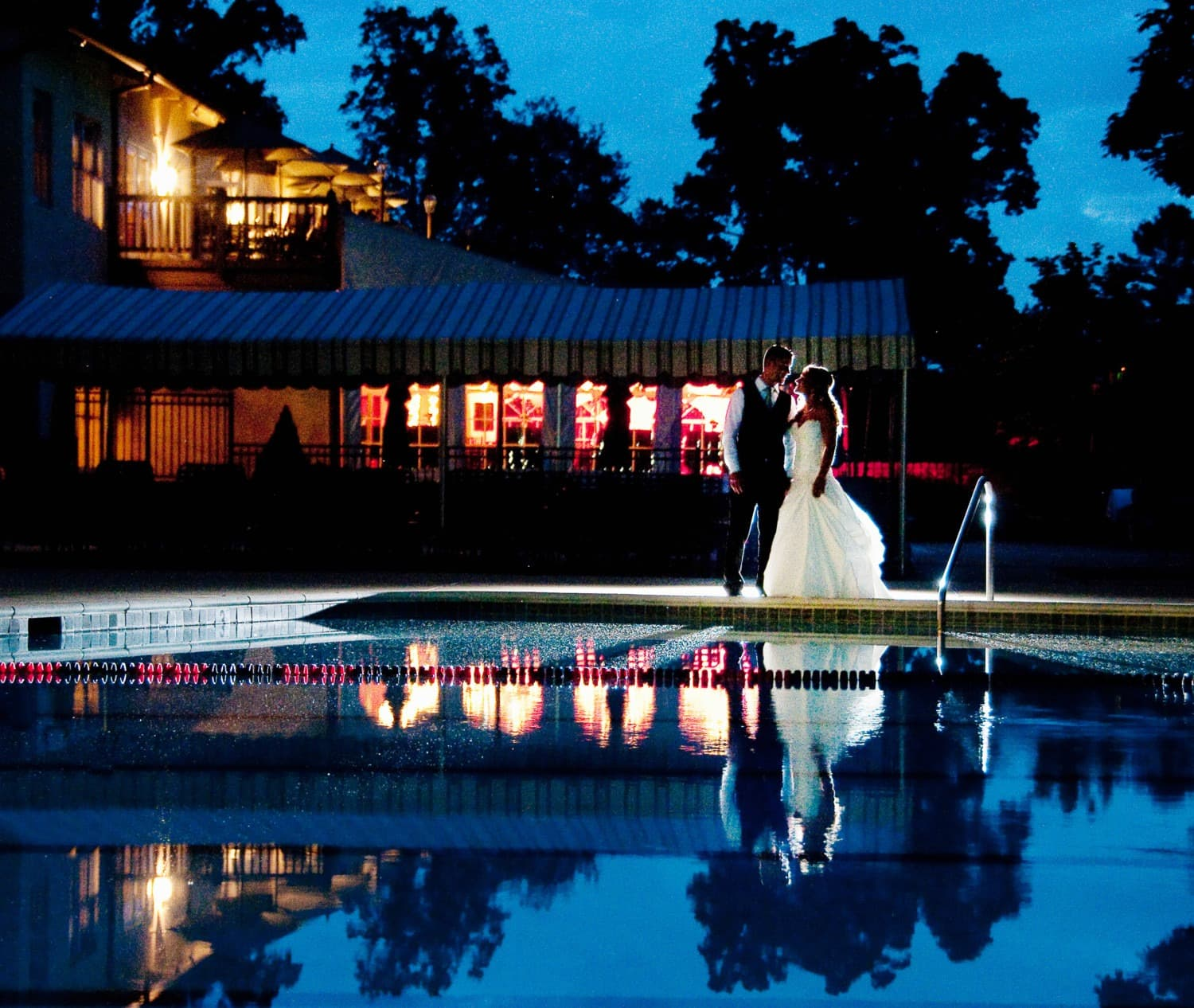 outdoor pool and wedding