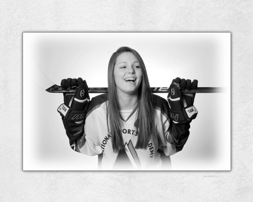 hockey portrait black and white