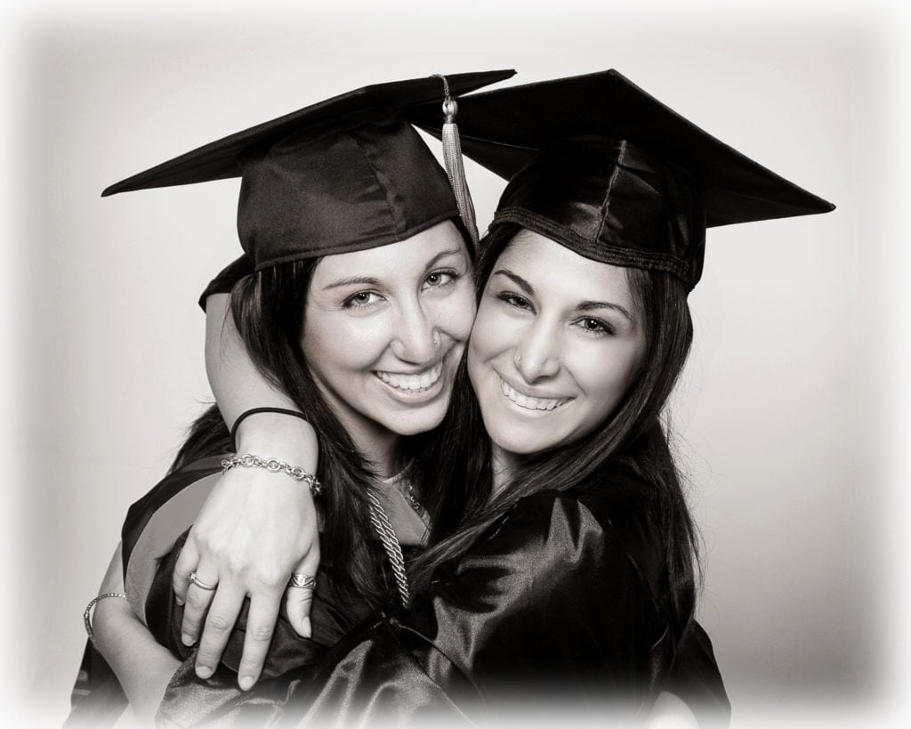 black and white composite photo graduation