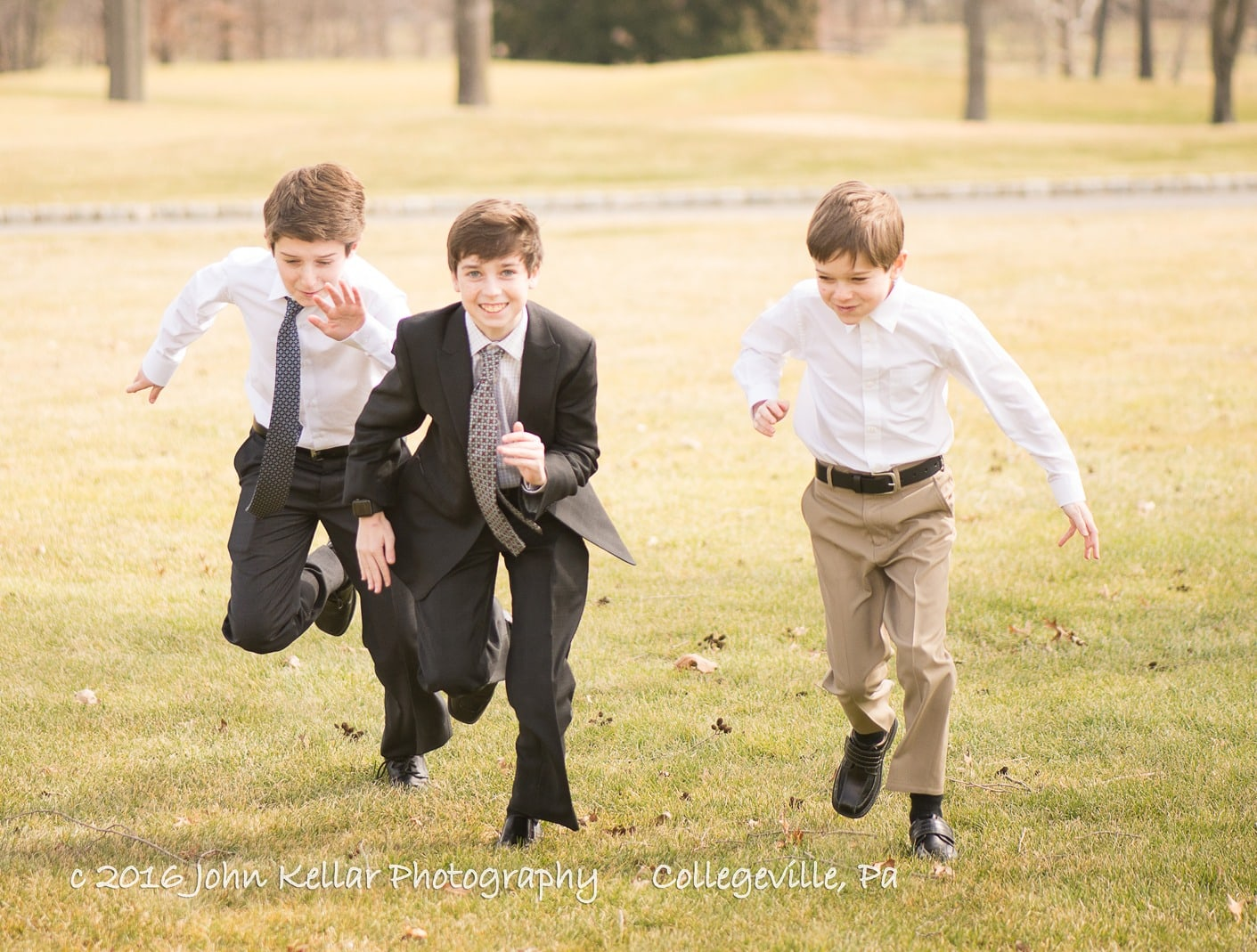 Boys running at bar mitzvah