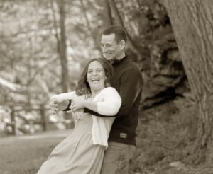 sepia engagement photograph