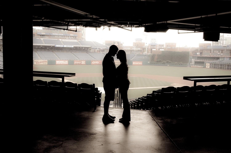 engagement photography baseball field