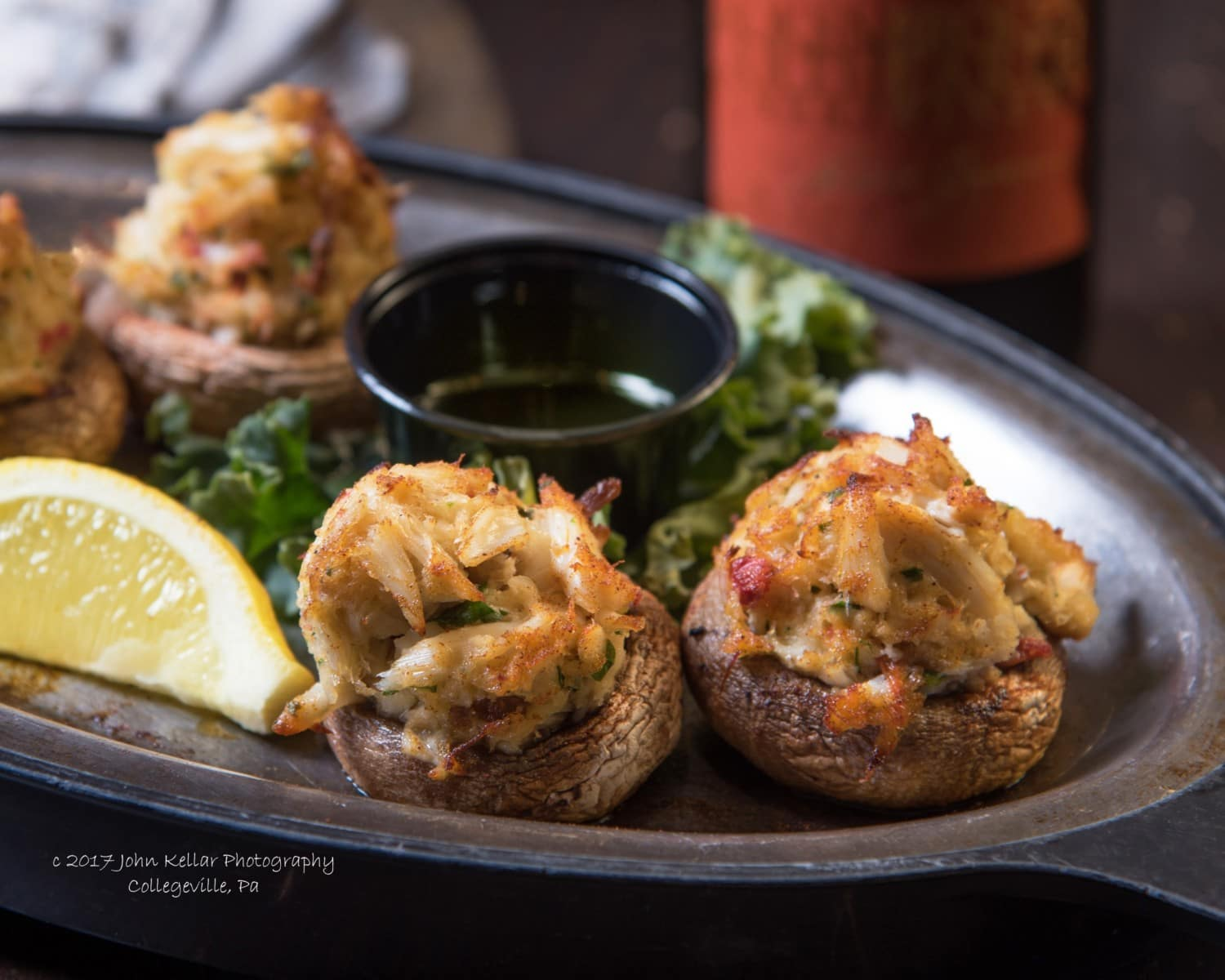 Stuffed mushrooms food photography
