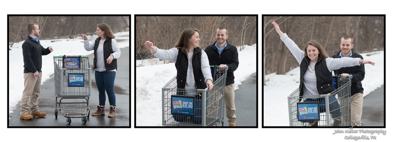 engagement couples photography in cart